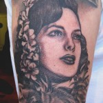 vintage woman portrait tattoo design