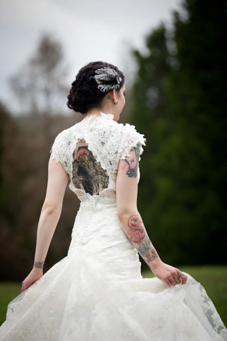 backless tattooed bride design of tattoosdesign of tattoos