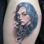romantic portrait tattoo design