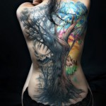 Colored back full tattoo