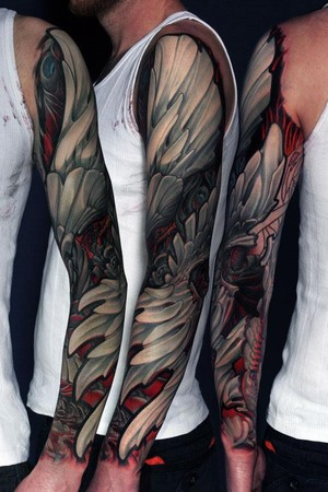 Wings tattoo on sleeve