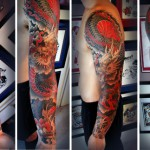 A full sleeve tattoo of a Japanese dragon