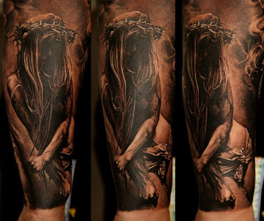 Jesus sleeve tattoo design of tattoosdesign of tattoos for Jesus tattoos on arm
