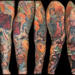 Sleeve tattoo of cats