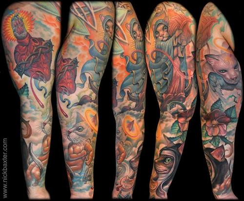 cat sleeve tattoo design of tattoosdesign of tattoos
