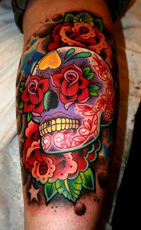 Sugar colored skull tattoo