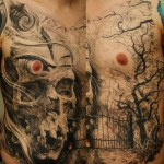 Chest skull tattoo