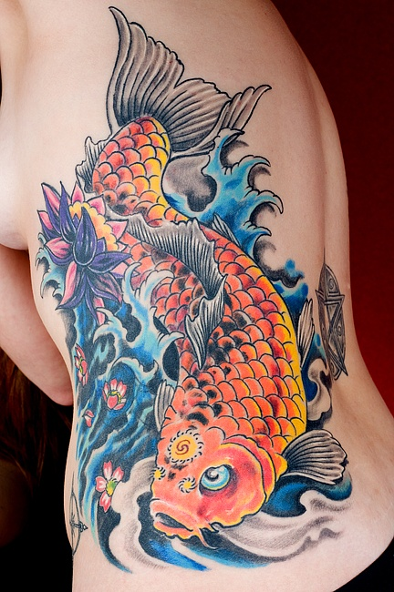 Side koi tattoo design of tattoosdesign of tattoos for All black koi fish