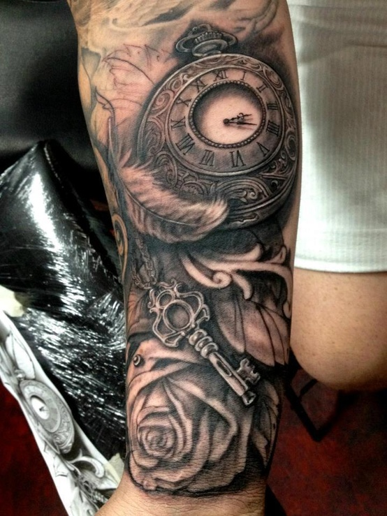 Rose steampunk tattoo