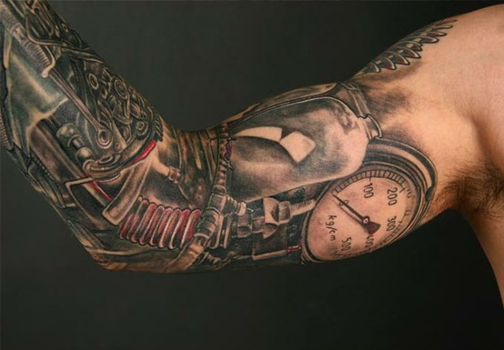 One cool Sleeve Steampunk Inspired Tattoo - Design of