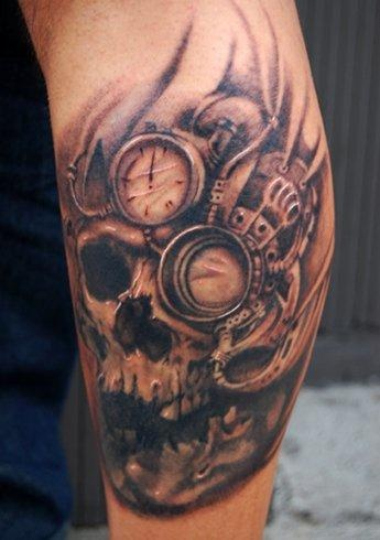 steampunk tattoo of skull