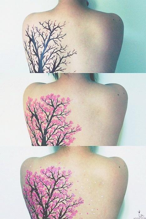 Three Stepts Of A Cherry Blossom Tattoo Design Of