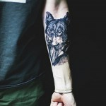 Black Wolf Tattoo on Wrist