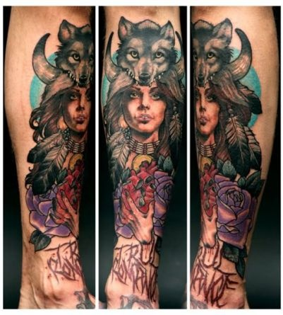 Wolf and Woman Tattoo