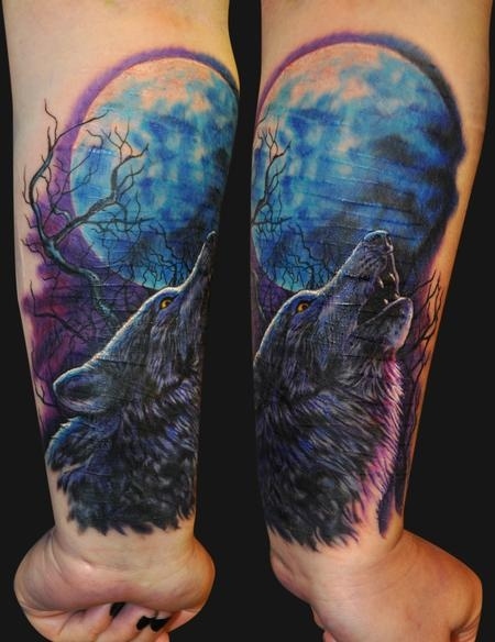 Howling Wolf Tattoo by Jamie Parker - Design of ...