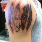 Half Back Half White Wolf Tattoo