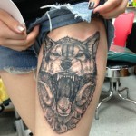 Wolf Tattoo on Girl Leg