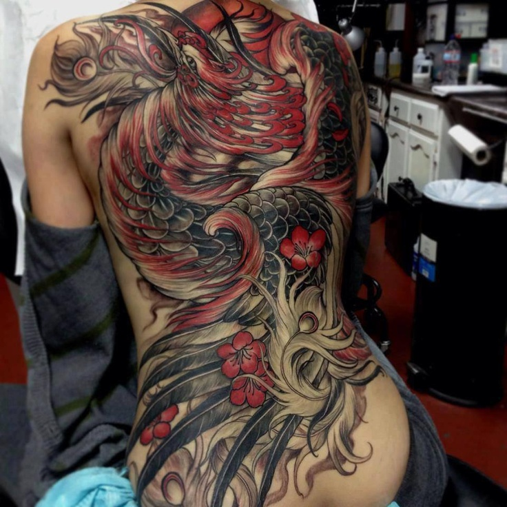 Detailed Phoenix Tattoo and Back