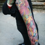 Colored Full Sleeve Phoenix Tattoo