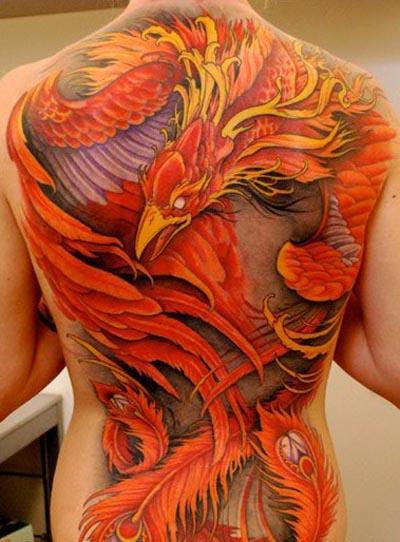 Red Phoenix Tattoo on full Back