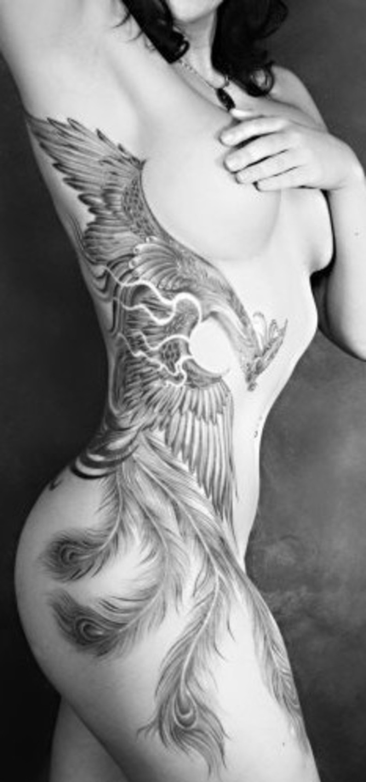 Girl with Phoenix Tattoo
