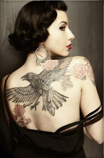 Sexy Eagle Tattoo on Back