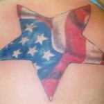 Star tattoo with American flag