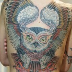 Back owl tattoo by Jason Tucker