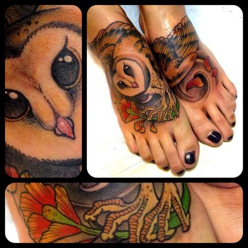 Cute owl tattoos on foot - photo#25