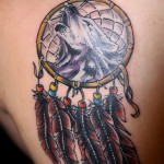 Wolf and dreamcatcher tattoo