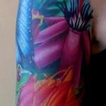 half sleeve hummingbird tattoo