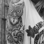 Owl tattoo design on sleeve