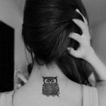 Small owl tattoo for girls