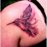 upper back hummingbird tattoo