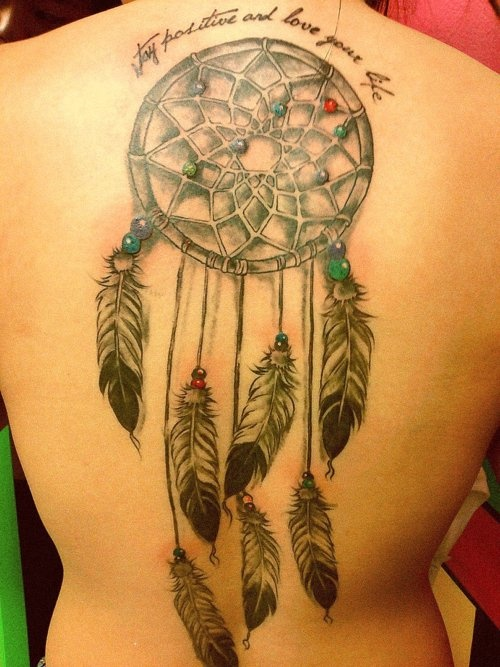 Dreamcatcher tattoo on whole back