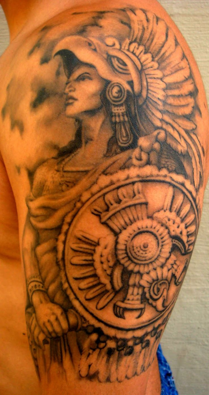 aztec warrior at blindside tattoo studio design of