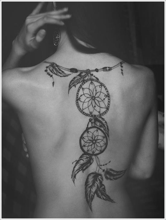 Back dreamcatcher tattoo for women