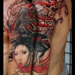 tattoo of dragon and geisha