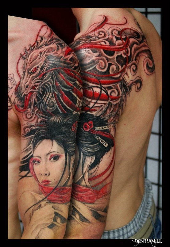 dragon and geisha tattoo design of tattoosdesign of tattoos. Black Bedroom Furniture Sets. Home Design Ideas