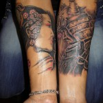 tattoo with geisha and samurai