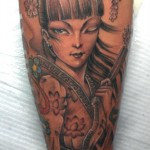 geisha tattoo design on sleeve