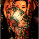 geisha tattoo on sleeve