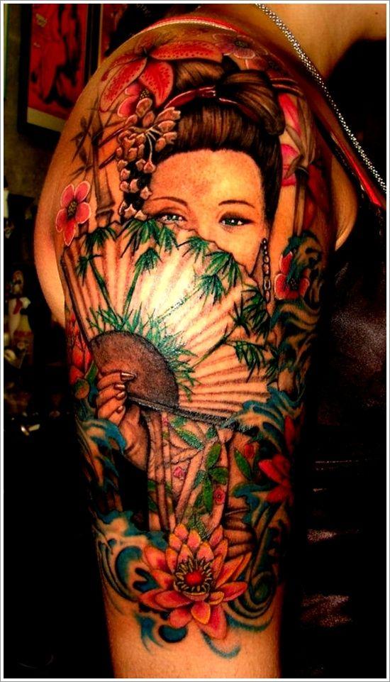 geisha tattoo on sleeve