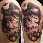 geisha with lotus tattoo