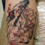 design of samurai and geisha tattoo