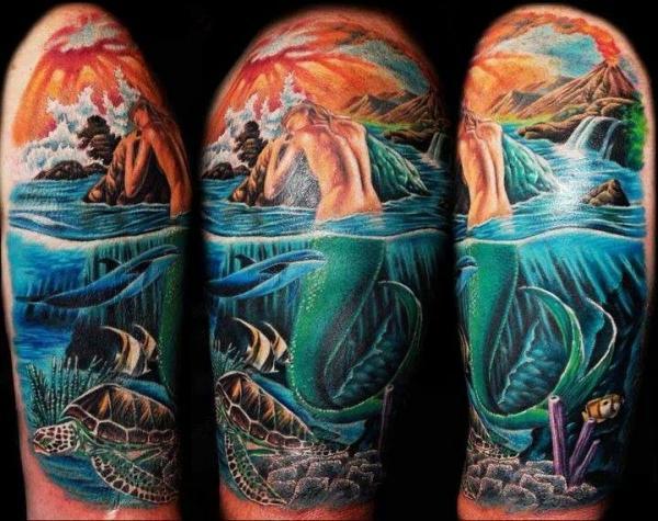 half sleeve mermaid tattoo design of tattoosdesign of. Black Bedroom Furniture Sets. Home Design Ideas