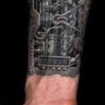 hand biomechanical tattoo
