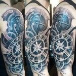 biomechanical tattoo colored design