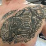 chest biomechanical tattoo