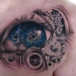 beautiful biomechanical eye tattoo